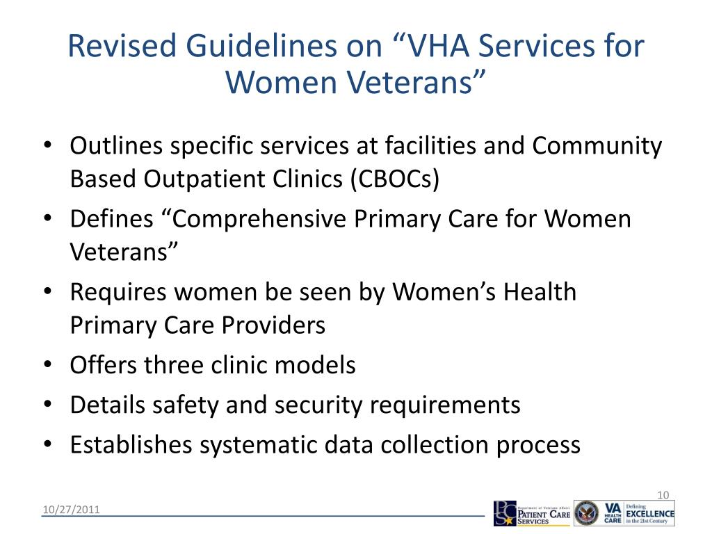 """Revised Guidelines on """"VHA Services for Women Veterans"""""""