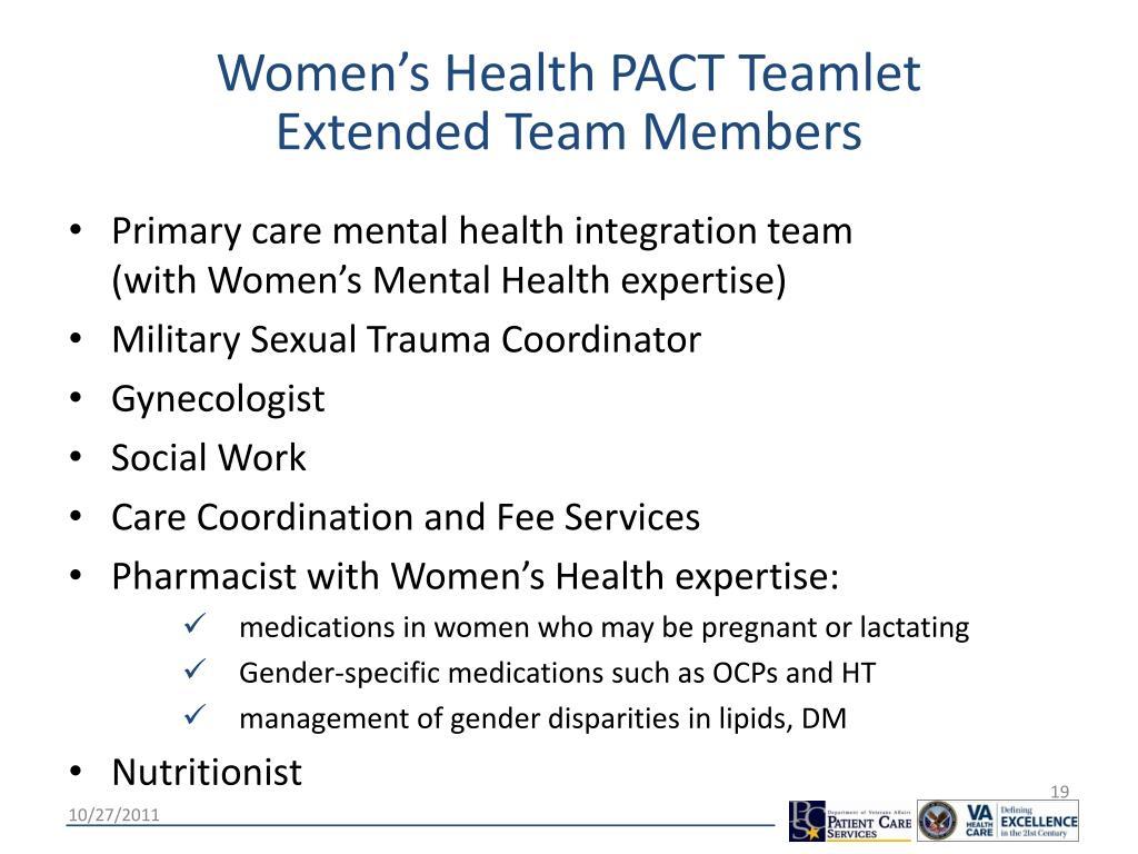 Women's Health PACT Teamlet       Extended Team Members