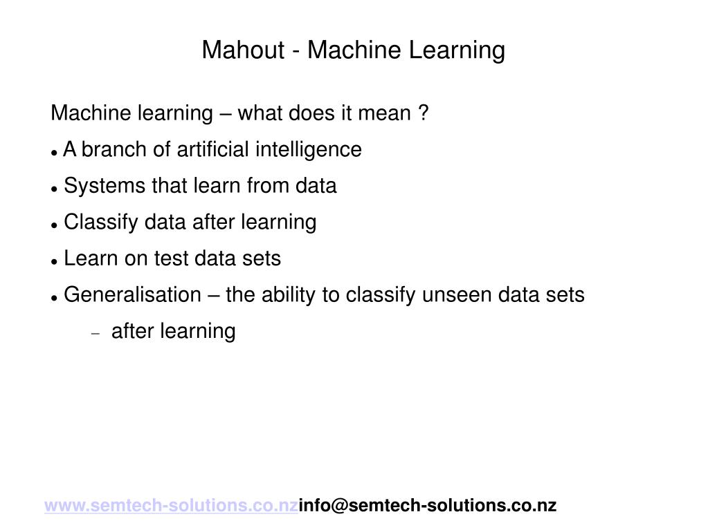 Mahout - Machine Learning
