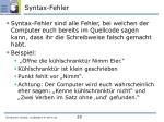 syntax fehler