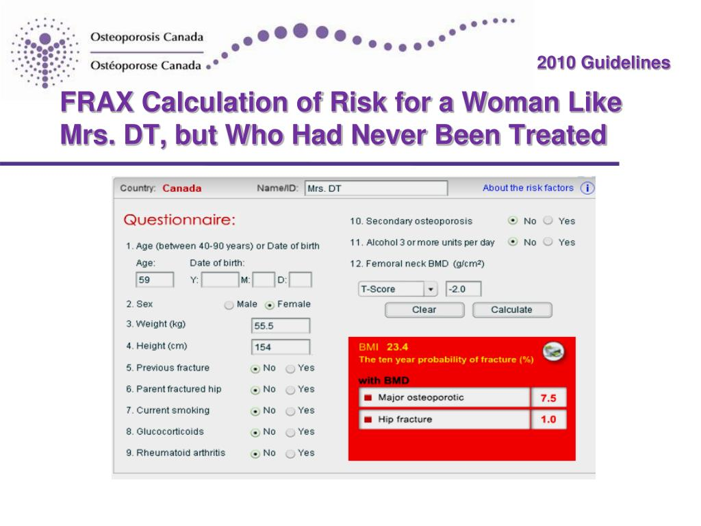 FRAX Calculation of Risk for a Woman Like Mrs. DT, but Who Had Never Been Treated