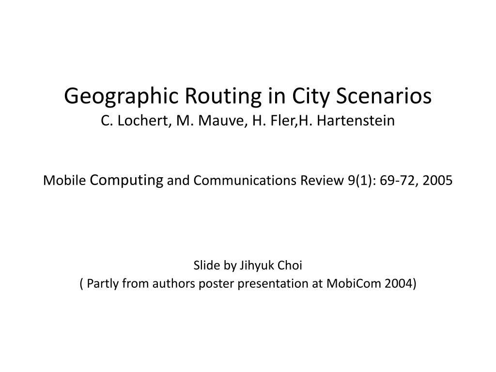 slide by jihyuk choi partly from authors poster presentation at mobicom 2004 l.