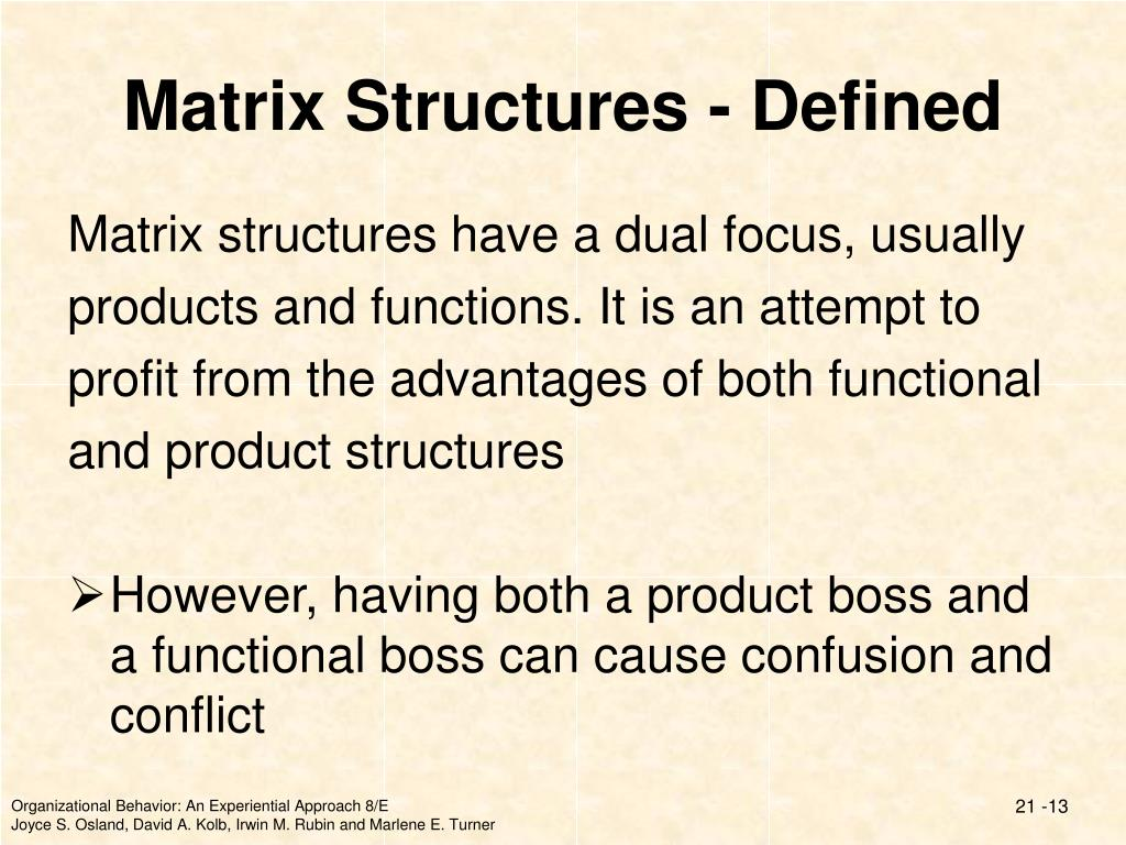 Matrix Structures - Defined