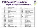 pos tagger prerequisites tagset example upenn tagset