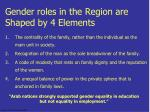 gender roles in the region are shaped by 4 elements