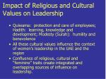 impact of religious and cultural values on leadership