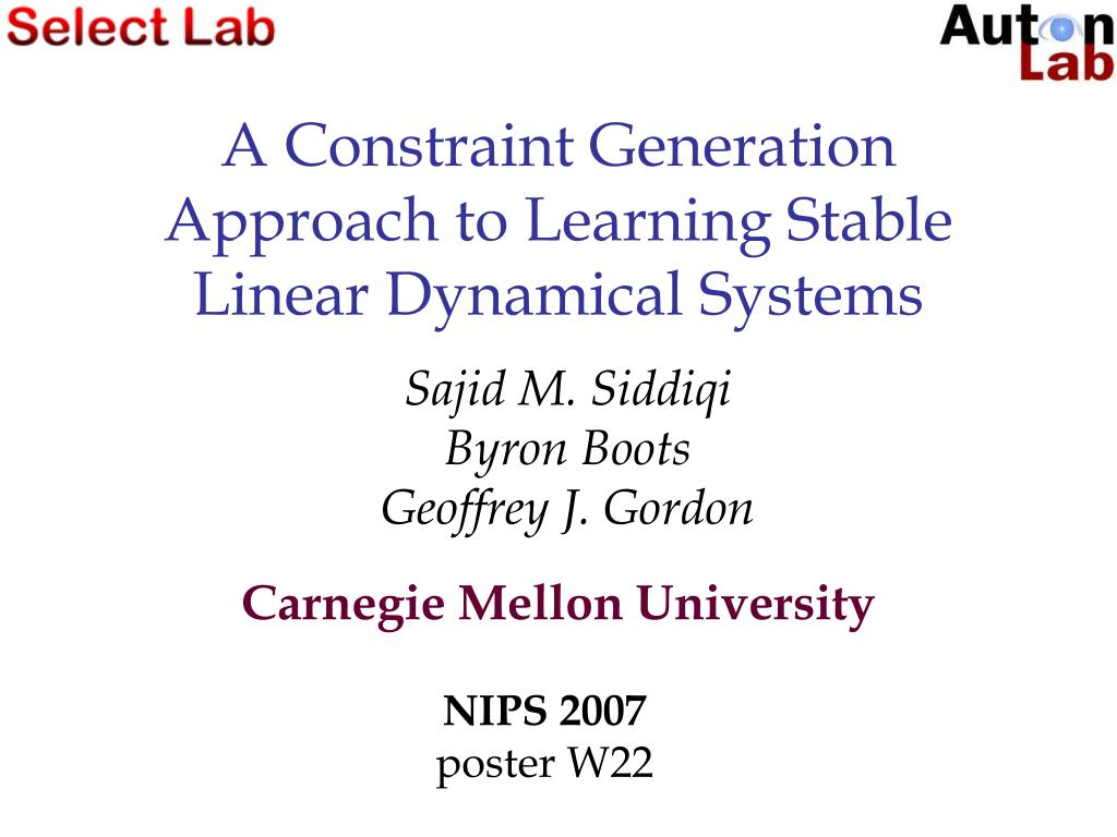 a constraint generation approach to learning stable linear dynamical systems l.