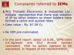 complaints referred to iems