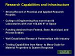 research capabilities and infrastructure