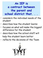 an iep is a contract between the parent and school district that