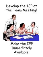 develop the iep at the team meeting