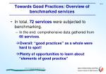 towards good practices overview of benchmarked services