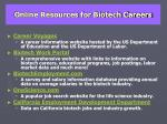 online resources for biotech careers