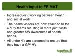 health input to fr mat