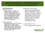 mash development project board and project management arrangements