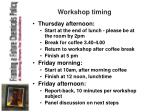 workshop timing