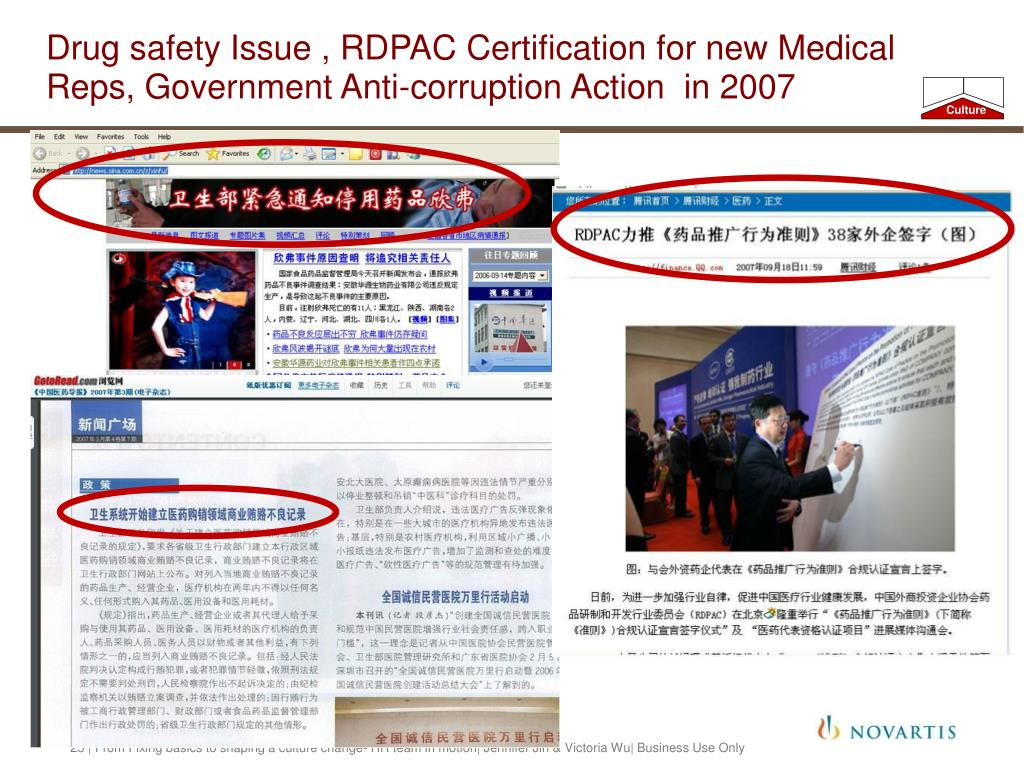 Drug safety Issue , RDPAC Certification for new Medical Reps, Government Anti-corruption Action  in 2007