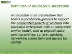 definition of incubator incubation