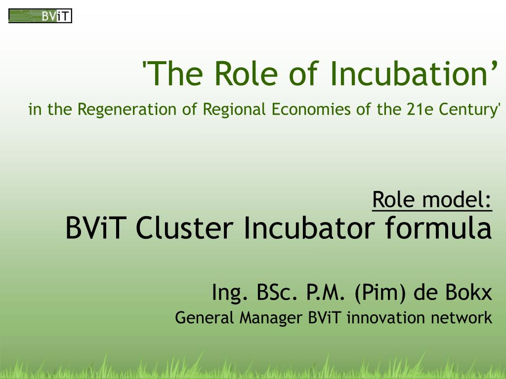the role of incubation in the regeneration of regional economies of the 21e century l.