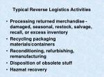 typical reverse logistics activities