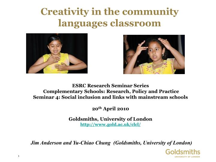 creativity in the community languages classroom n.