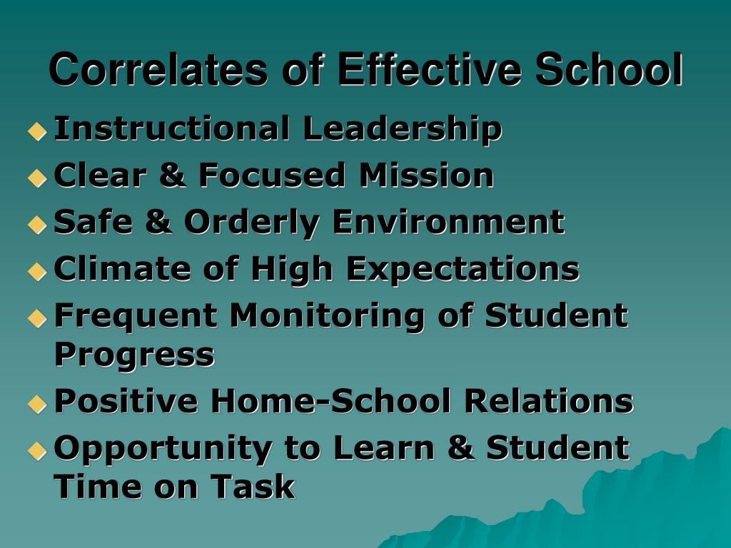 Correlates of Effective School