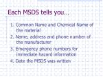 each msds tells you