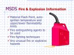 msds fire explosion information