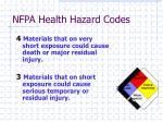 nfpa health hazard codes
