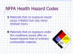 nfpa health hazard codes2