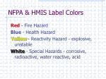 nfpa hmis label colors