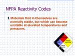 nfpa reactivity codes