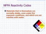 nfpa reactivity codes1