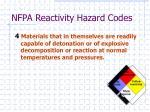 nfpa reactivity hazard codes