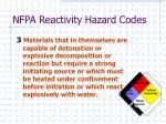 nfpa reactivity hazard codes1