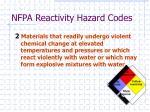 nfpa reactivity hazard codes2