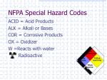 nfpa special hazard codes