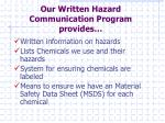 our written hazard communication program provides
