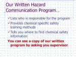 our written hazard communication program