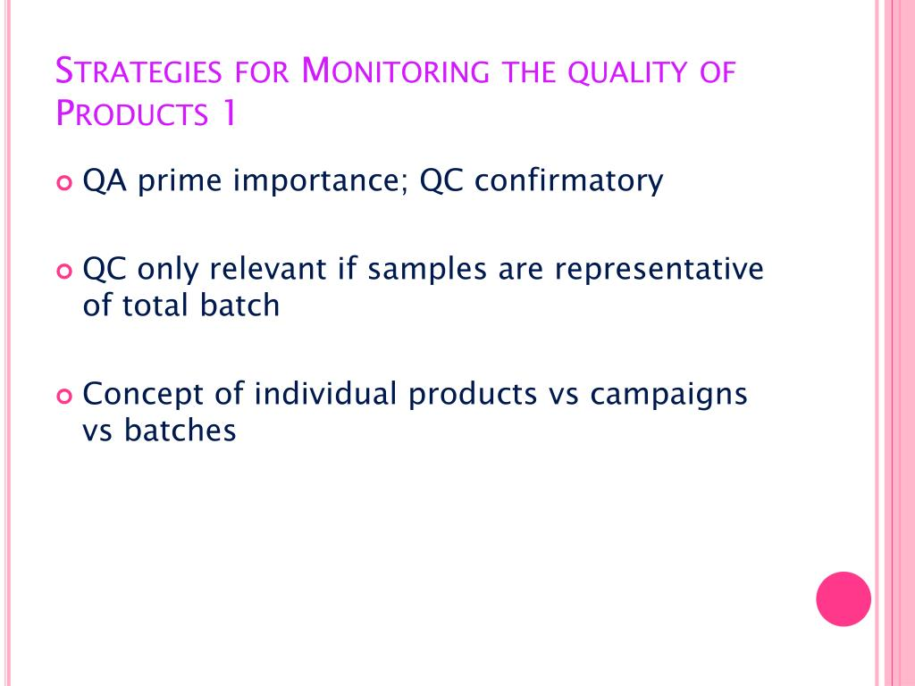 Strategies for Monitoring the quality of Products 1