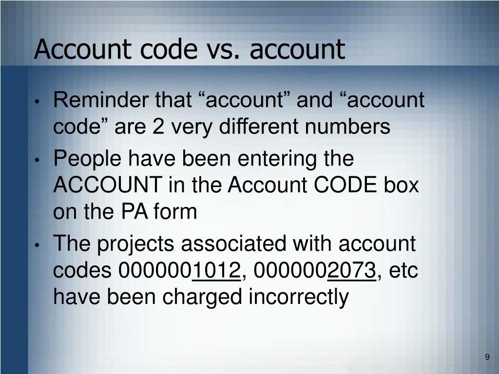 Account code vs. account