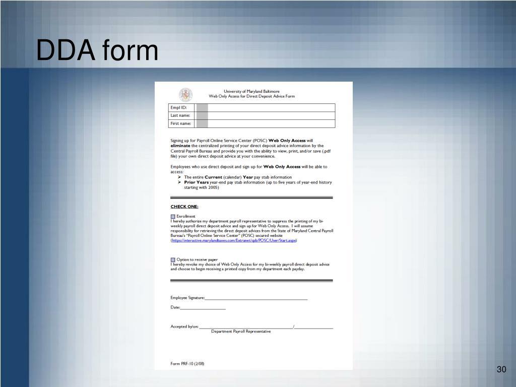 DDA form