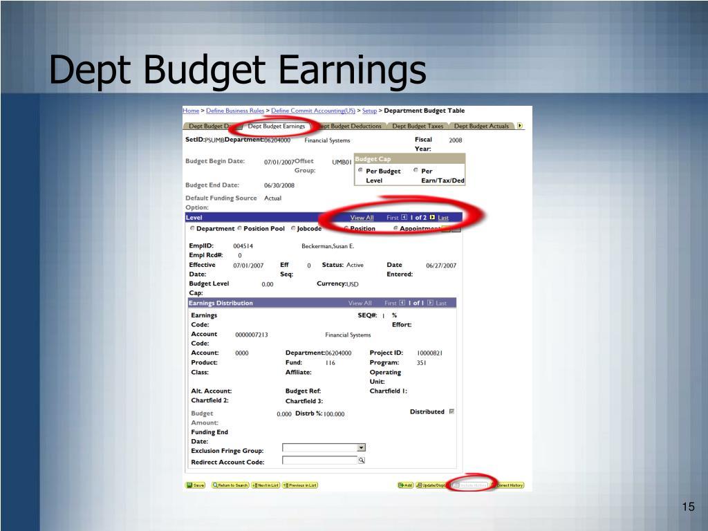 Dept Budget Earnings