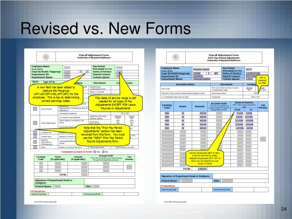 Revised vs. New Forms