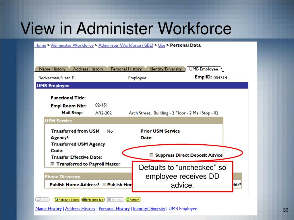 View in Administer Workforce