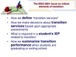 the idea 2004 focus on critical elements of transition