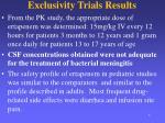 exclusivity trials results