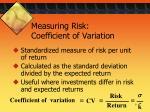 measuring risk coefficient of variation