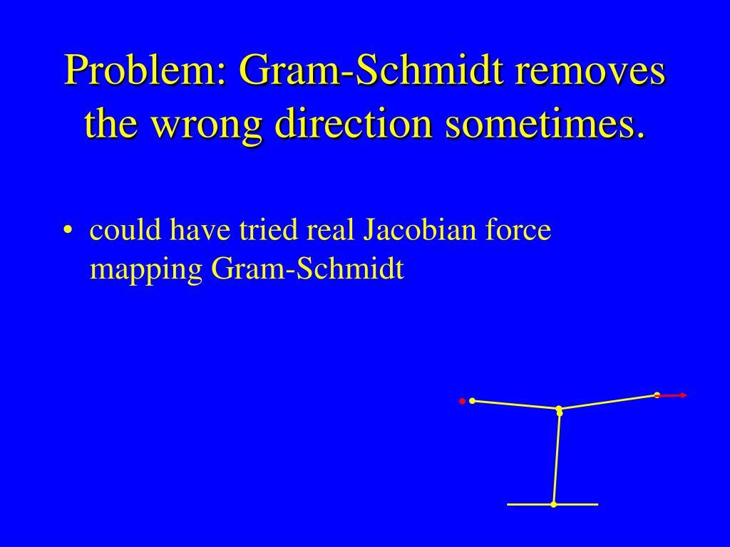 Problem: Gram-Schmidt removes the wrong direction sometimes.