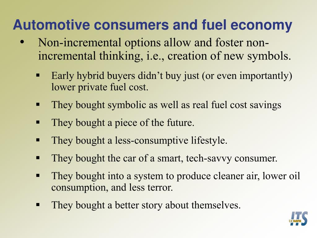 Automotive consumers and fuel economy